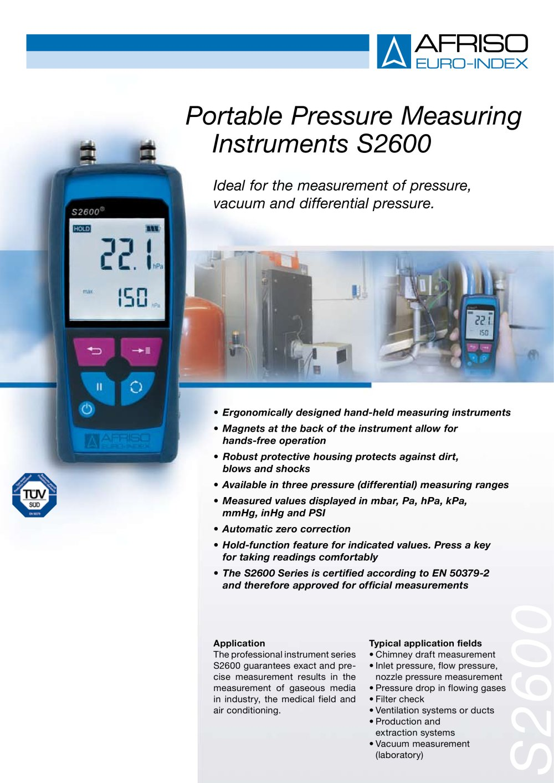 Portable Pressure Measuring Instruments S2600