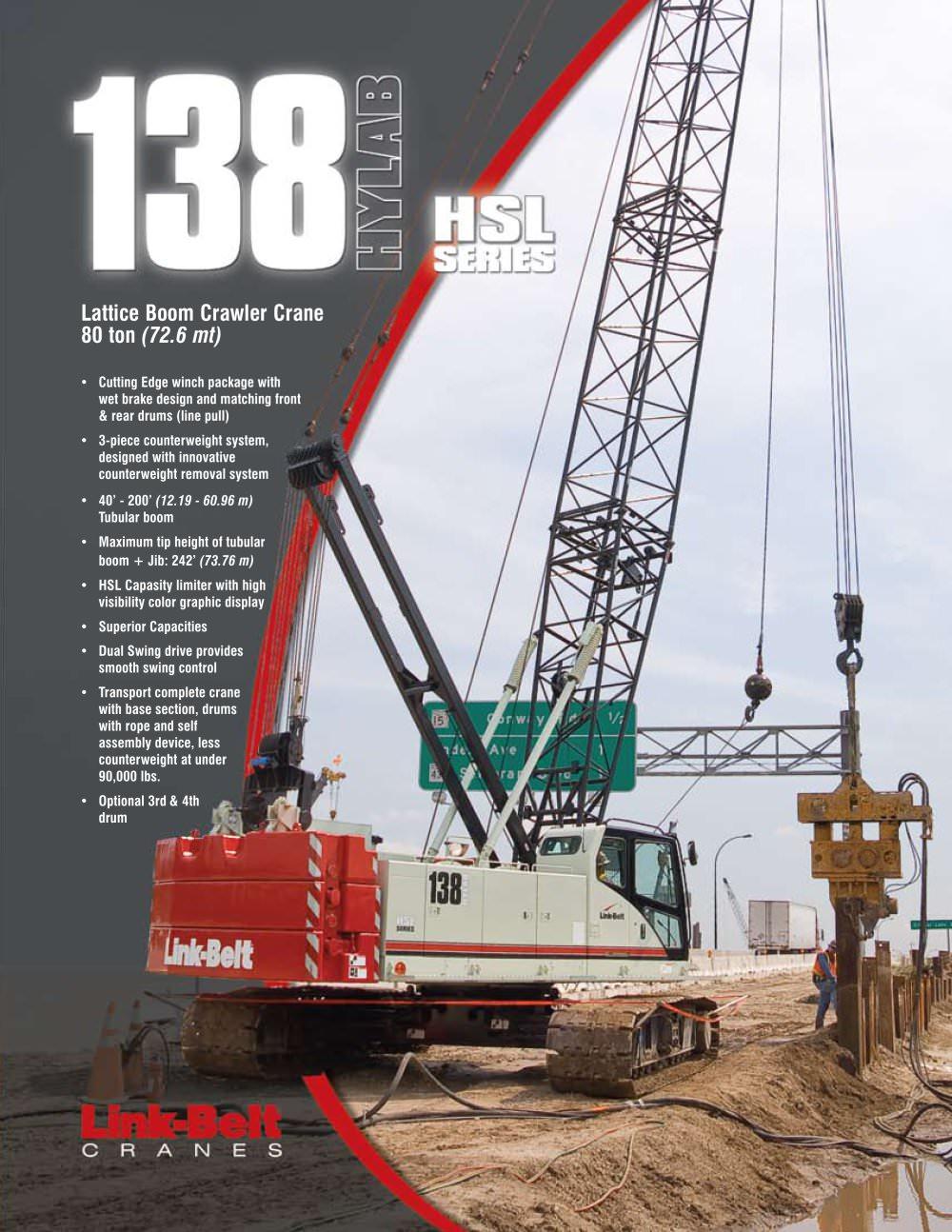 138 hsl 80 ton 77 62 mt lattice boom crawler crane link belt rh pdf directindustry com Link Belt Crane Specifications Link Belt