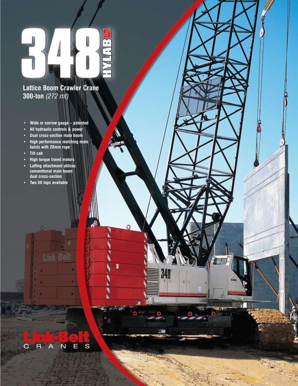 Link-Belt 348 HYLAB 5 300-ton (272.16 mt) Hydraulic Lattice Boom Crawler  Crane - 1 / 6 Pages