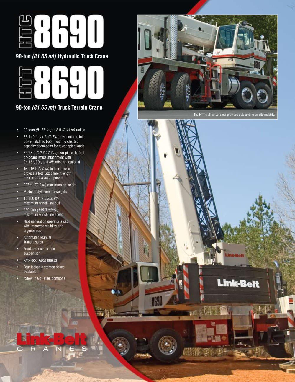 link belt htc 8690 90 ton 81 6 mt hydraulic truck crane link rh pdf directindustry com Link Belt Parts Power Twist Link Belt