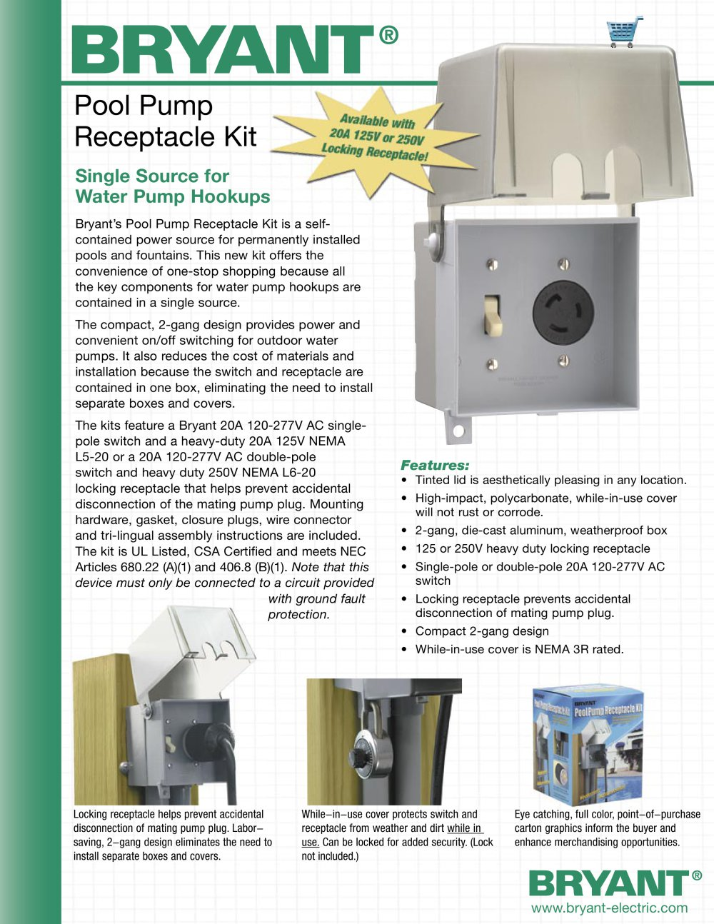 Pool Pump Receptacle Kit Bryant Electric Pdf Catalogue How To Add Gfci A Box With One Outlet Controlled By Switch 1 2 Pages Mydirectindustry Favorites
