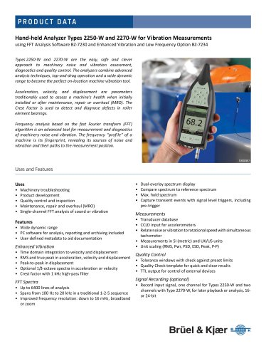 Hand‐held Analyzer Types 2250‐W and 2270‐W for Vibration