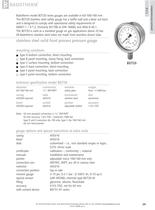 BDT20 - All stainless steel solid front pressure gauge