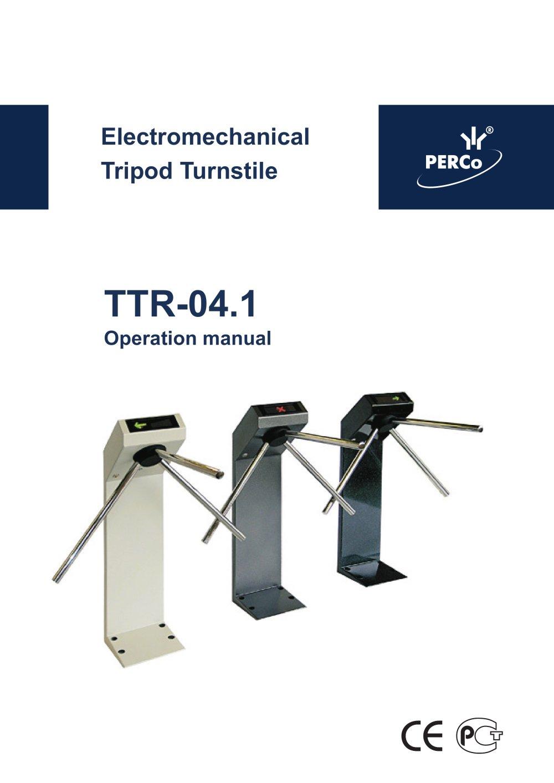 TTR041 Operation manual PERCo PDF Catalogue – Operation Manual