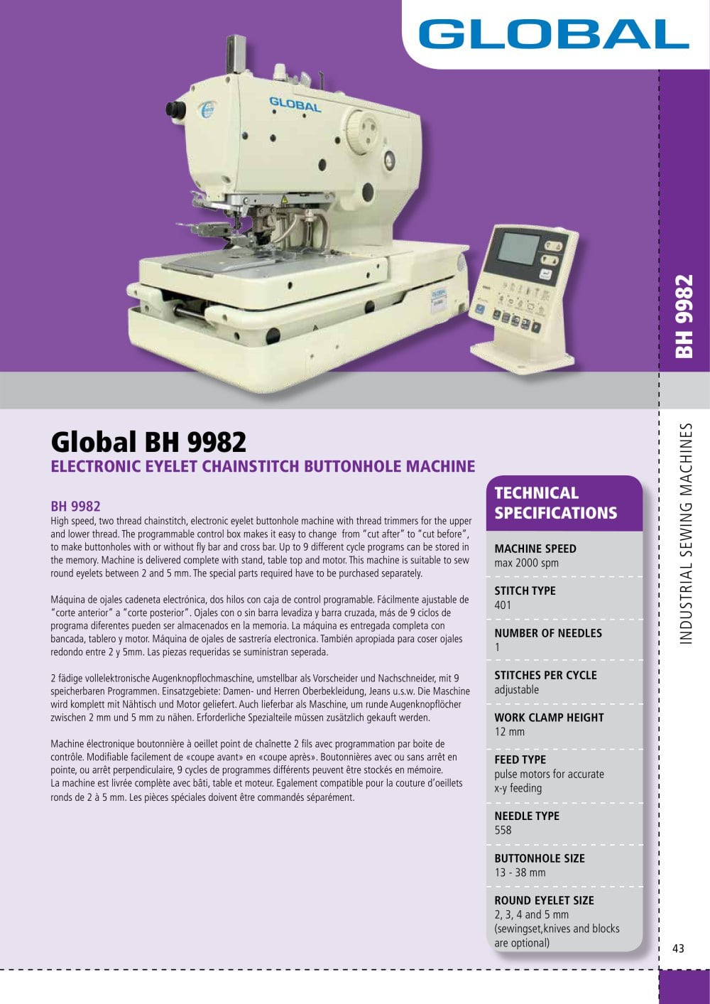 Global BH 9982 - Global Industrial Sewing Machines - PDF Catalogue ...