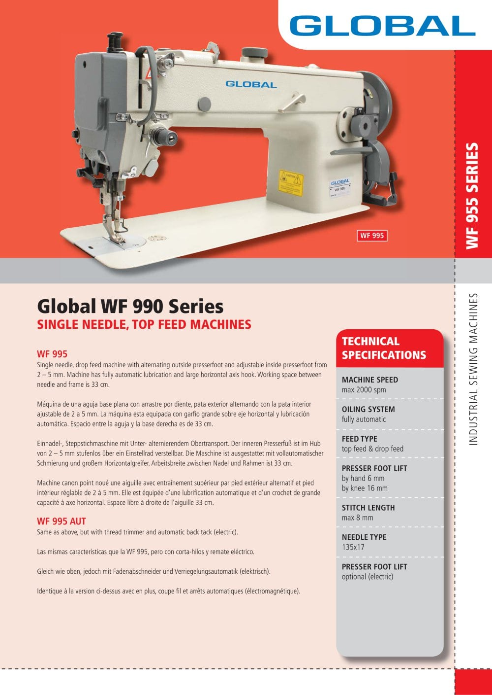 WF 995 series - Global Industrial Sewing Machines - PDF Catalogue ...