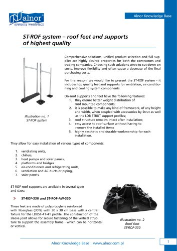 Roof support system ST-ROOF - ALNOR Ventilation Systems - PDF