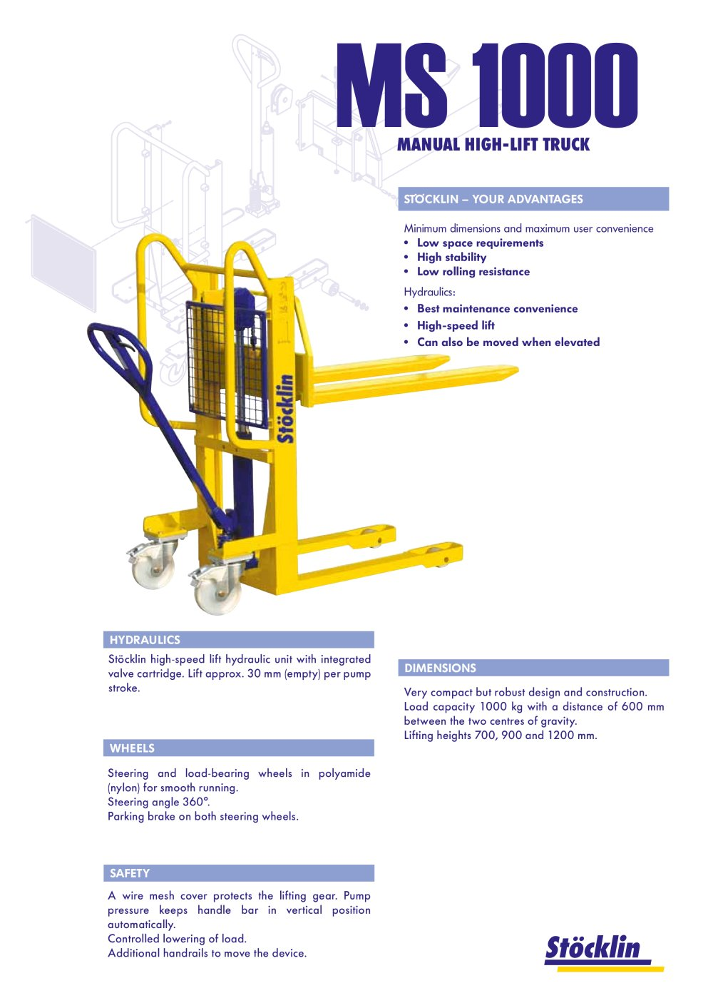 MS 1000 Manual high lift truck - Stöcklin - PDF Catalogue ...