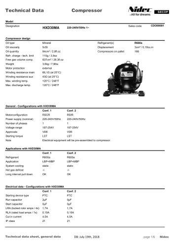 HXD Compressor - Secop GmbH - PDF Catalogs | Technical Documentation