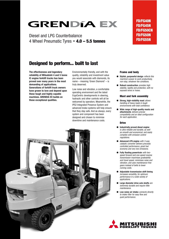 GRENDIA EX: FD40-55N Series - Engine Powered Forklift Trucks 4.0-5.5 ...