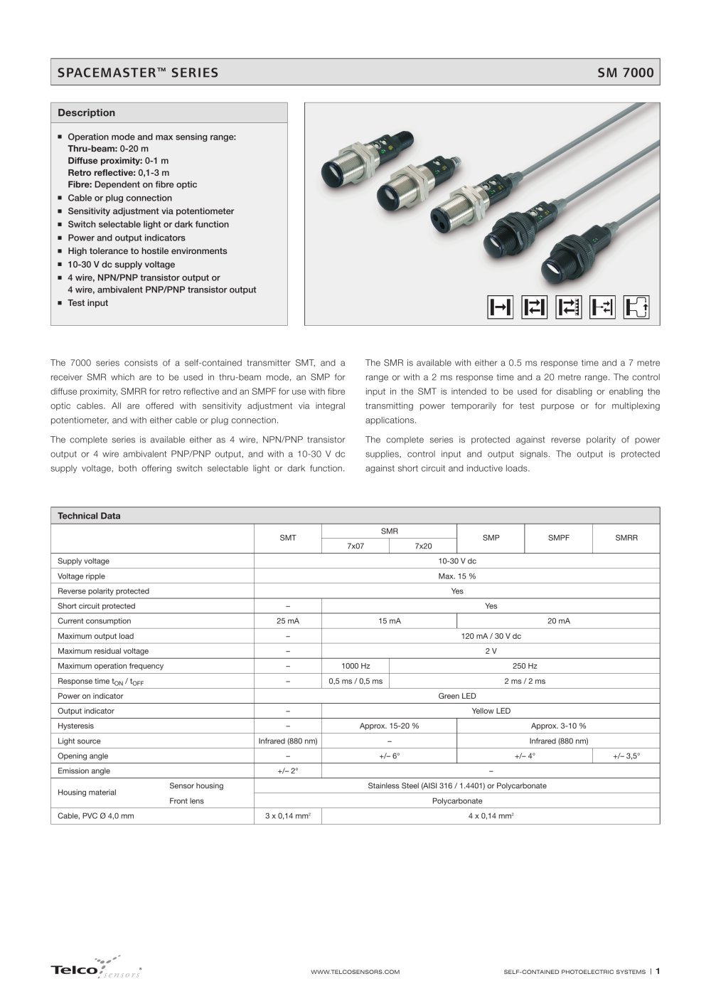 Sm 7000 Series Telco Sensors Pdf Catalogue Technical Receiver Pnp Output Wiring Diagram Emitter M12 1 5 Pages