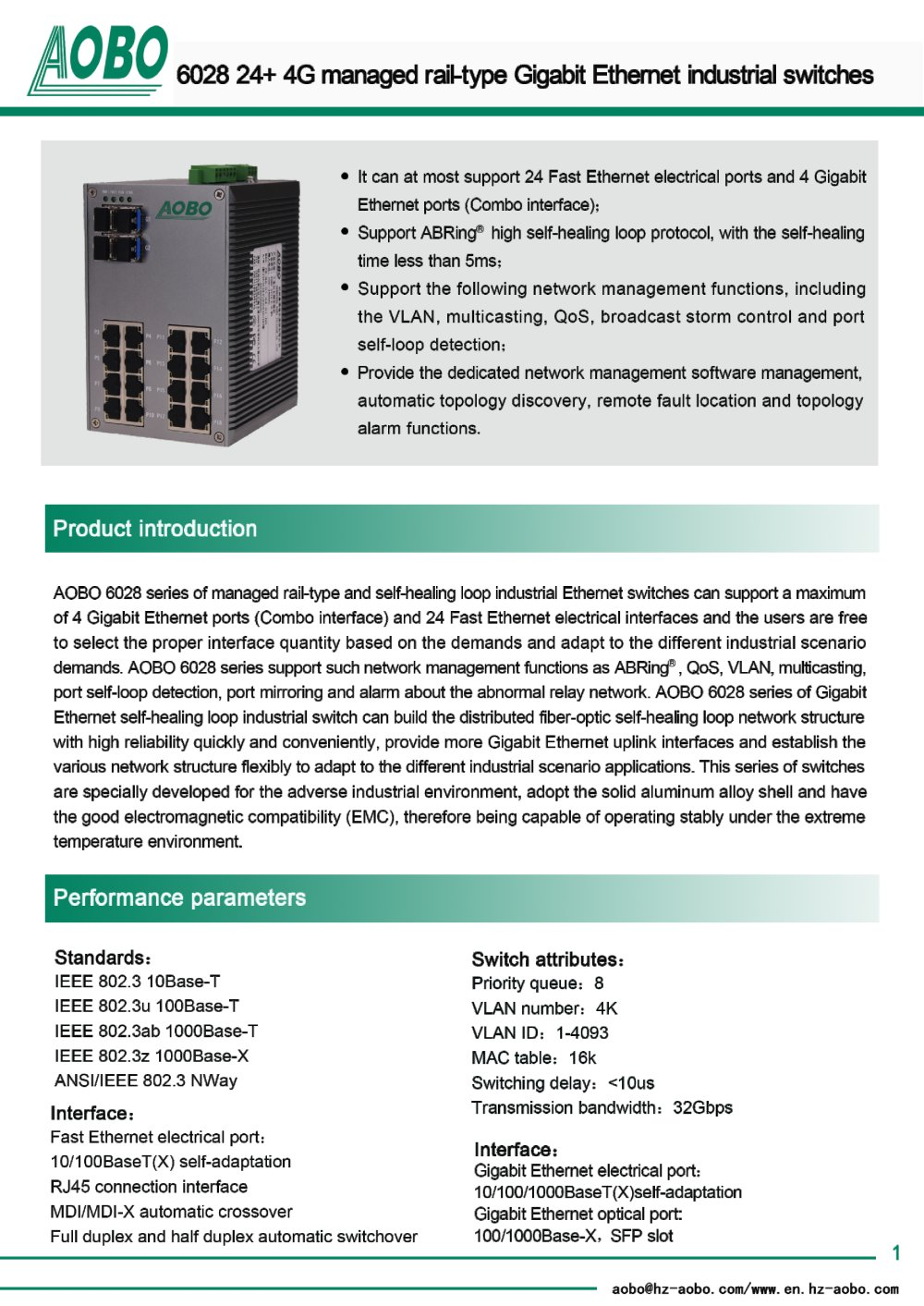 24+4G managed rail-type Gigabit Industrial Ethernet Switches/AOBO ...