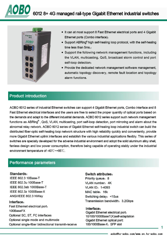 8+4G ports 10/100/1000BaseT(X) Ethernet Switches /AOBO 6012 ...