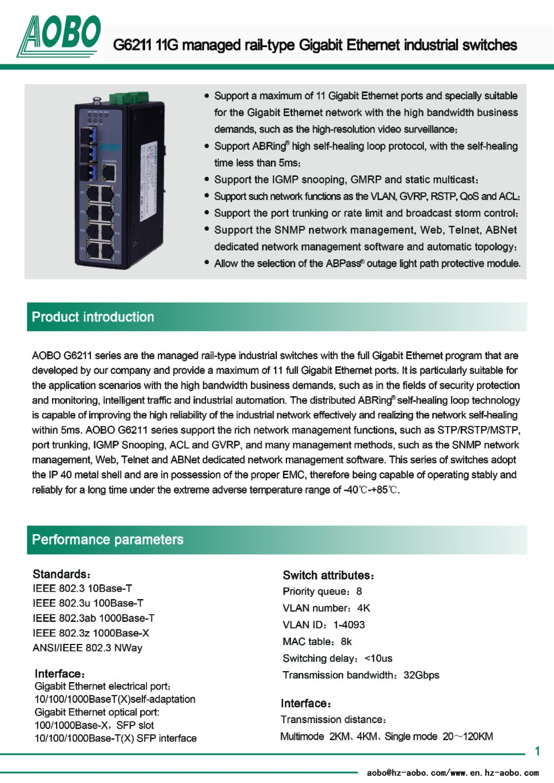 managed ethernet switch 10 ports gigabit Ethernet DIN rail/ AOBO ...