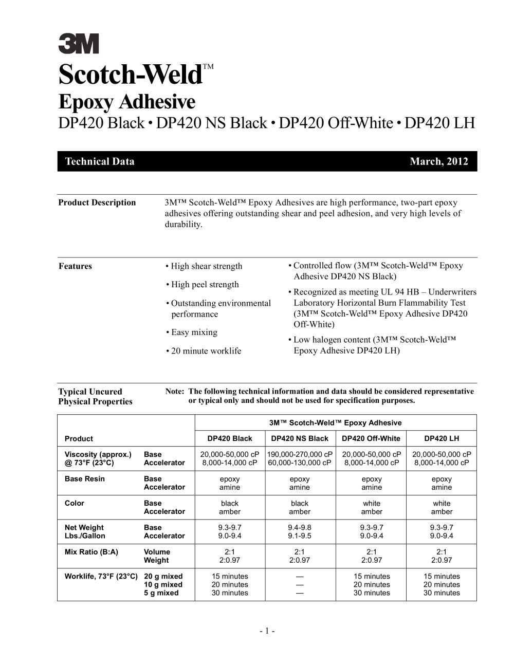 3m™ scotch-weld™ epoxy adhesive dp420 black, 37 ml, 12 per case.