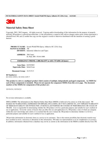 3M MATERIAL SAFETY DATA SHEET Scotch-Weld(TM) Epoxy Adhesive EC-2216