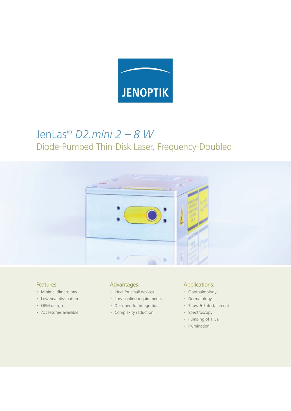 Diode Pumped Thin Disk Lasers Jenoptik I Healthcare Industry Half Page System Diagram 1 16 Pages