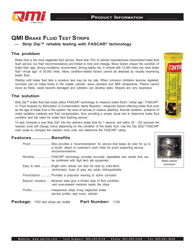 QMI Brake Fluid Test Strips