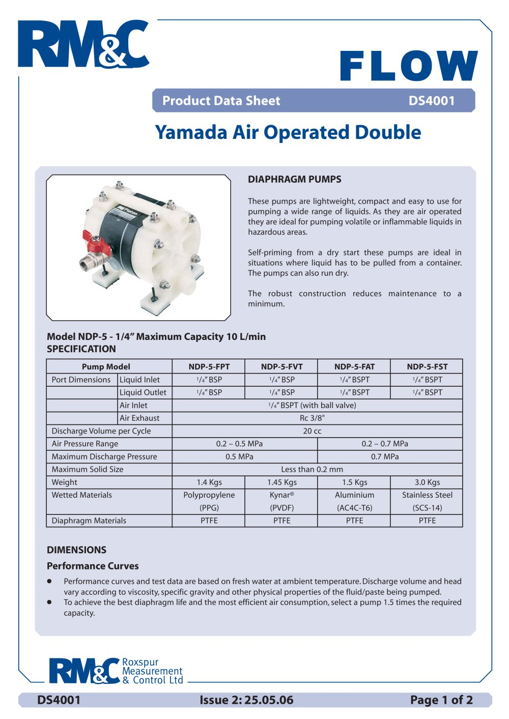 Yamada air operated double diaphragm pump roxspur measurement yamada air operated double diaphragm pump 1 2 pages ccuart Images