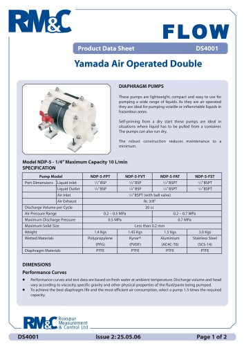 Yamada air operated double diaphragm pump roxspur measurement yamada air operated double diaphragm pump ccuart Gallery