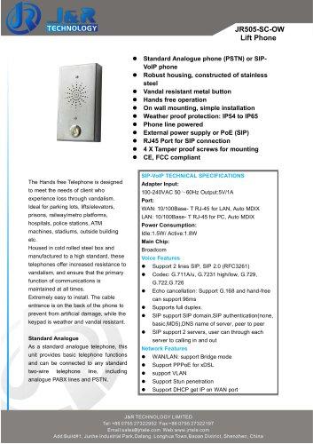 Ascenseur Téléphone JR505-SC