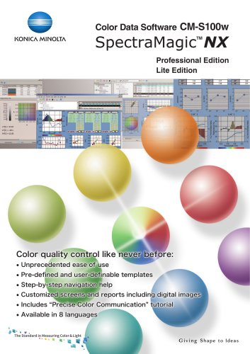 Color Data Software CM-S100w SpectraMagic NX - Konica Minolta