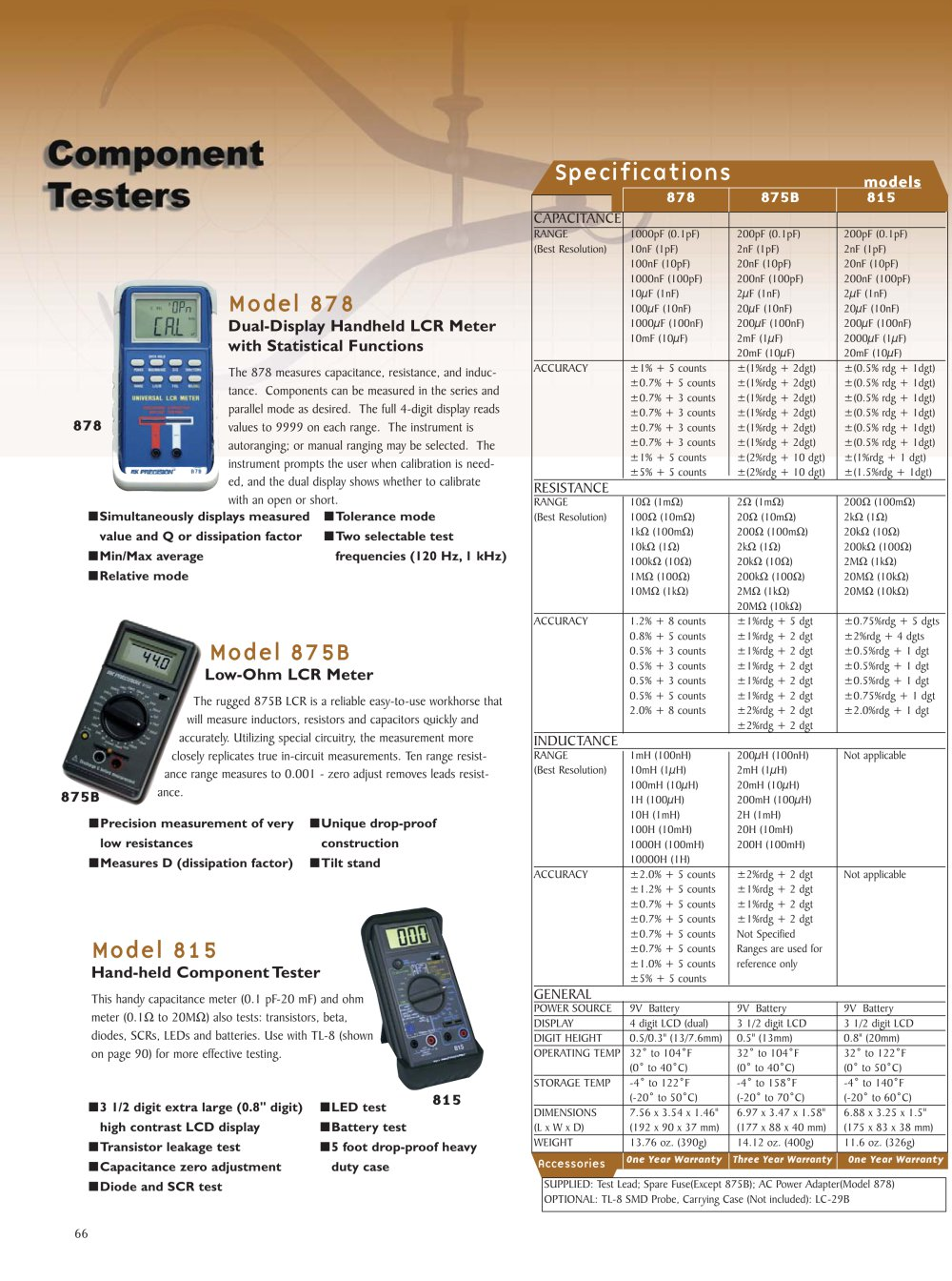 Component Tester Bk Precision Pdf Catalogue Technical In Circuit For Scr Diodes And Transistors 1 Pages