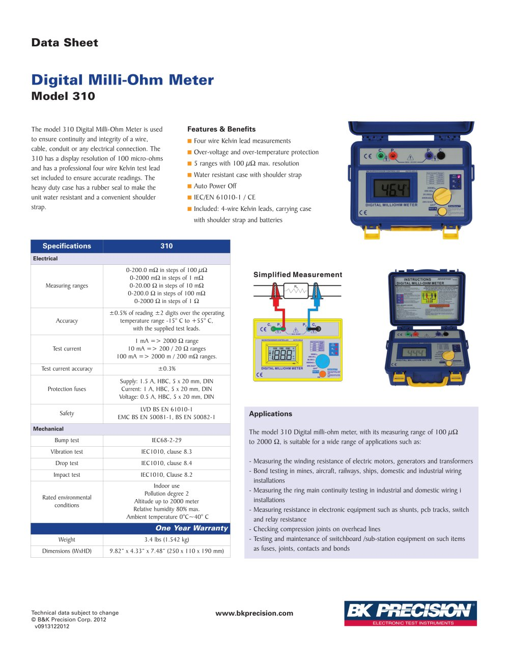 Digital Milli Ohm Meter Bk Precision Pdf Catalogue Technical Commercial And Industrial Wiring 1 Pages