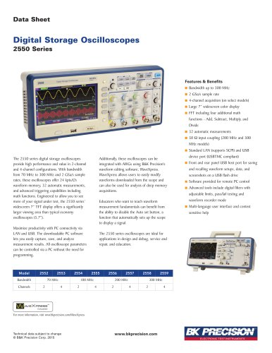 Digital Storage Oscilloscopes 2550 Series