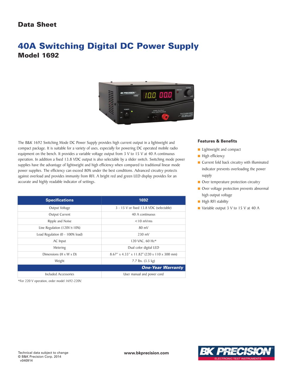 Model 1692 Bk Precision Pdf Catalogue Technical Documentation Archive Circuit With Voltmeter Real Battery And Variable Resistor 1 Pages
