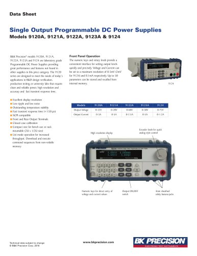 Models 9120A, 9121A, 9122A, 9123A & 9124