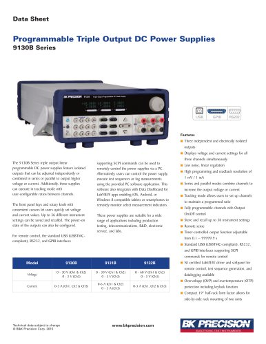Programmable Triple Output DC Power Supplies 9130B Series