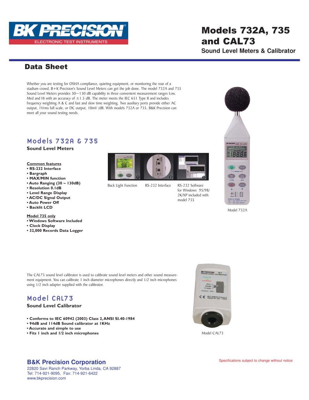 Standard Acoustic Calibrator 94db 1khz Sine Wave Bk Precision Sinewave Generator Circuit 1 Pages