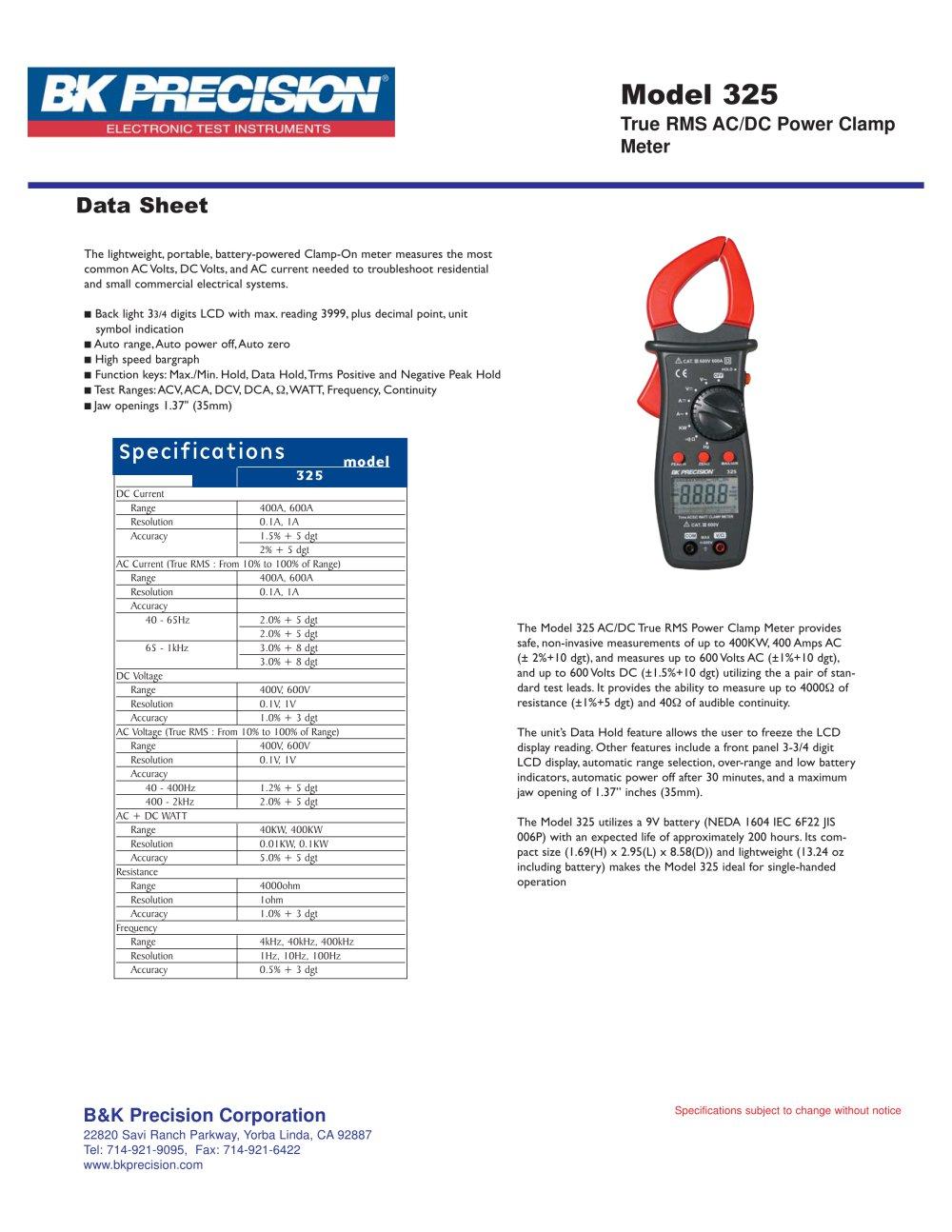 True Rms Ac Dc Power Clamp Meter B K Precision Pdf Catalogs