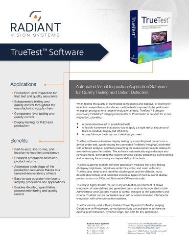 TrueTest™ Automated Visual Inspection Software - Radiant