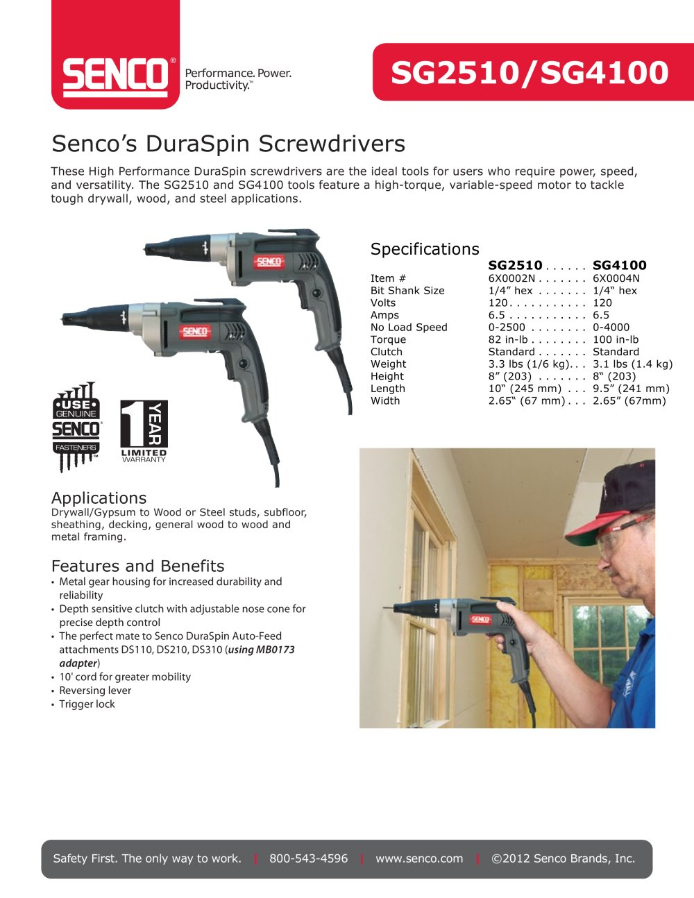SG2510 Corded 2500 rpm Screwdriver - SENCO - PDF Catalogue ...