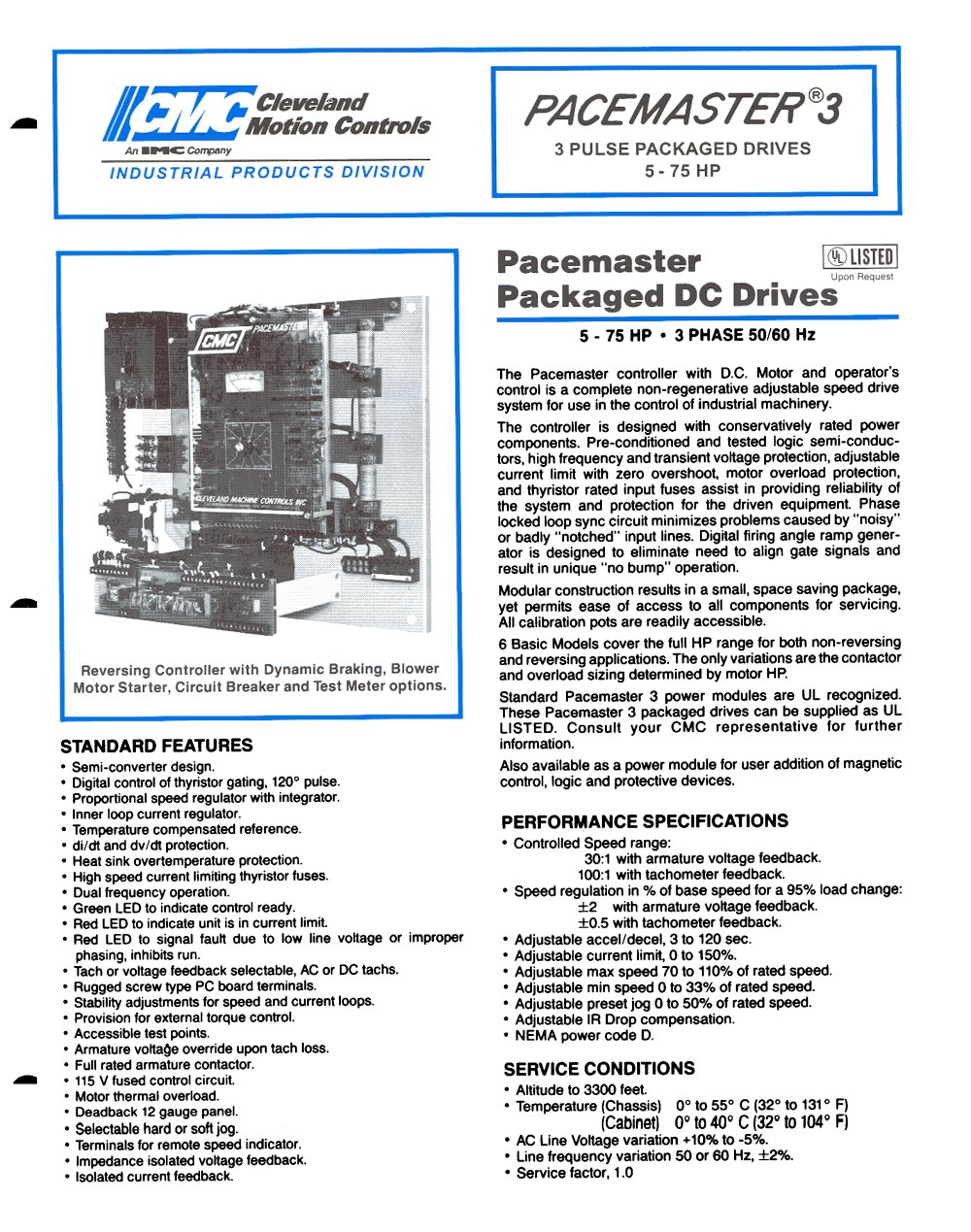 DC Drives PACEMASTER 3 Datasheet - Cleveland Motion Controls - PDF