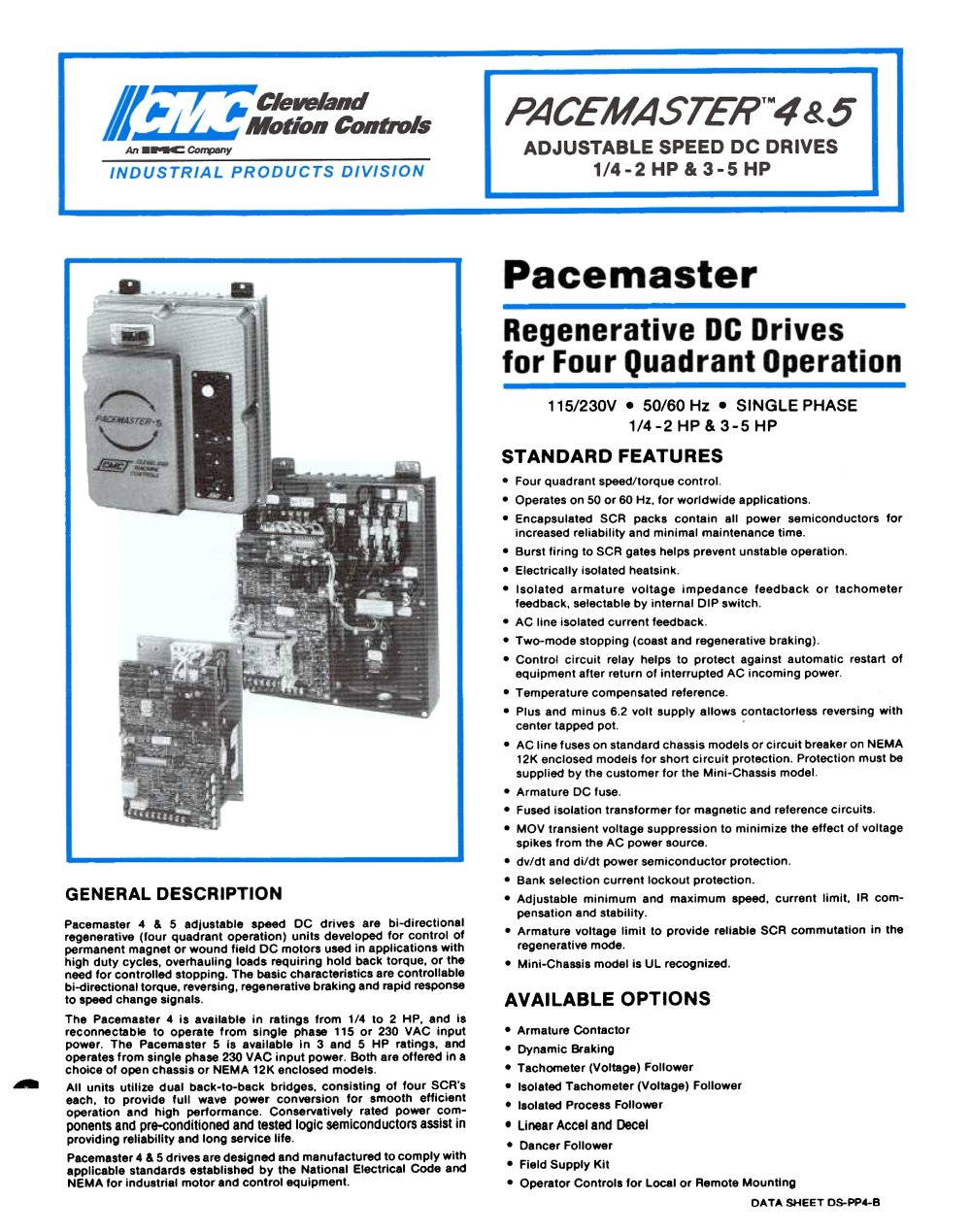 dc drives pacemaster 4 5 datasheet 85025_1b dc drives pacemaster 4 & 5 datasheet cleveland motion controls pacemaster 1 wiring diagram at bakdesigns.co