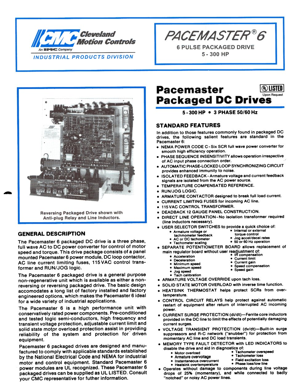 DC Drives PACEMASTER 6 Datasheet - Cleveland Motion Controls - PDF