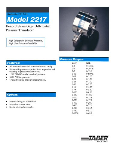 Differential Pressure Measurement Model 2217
