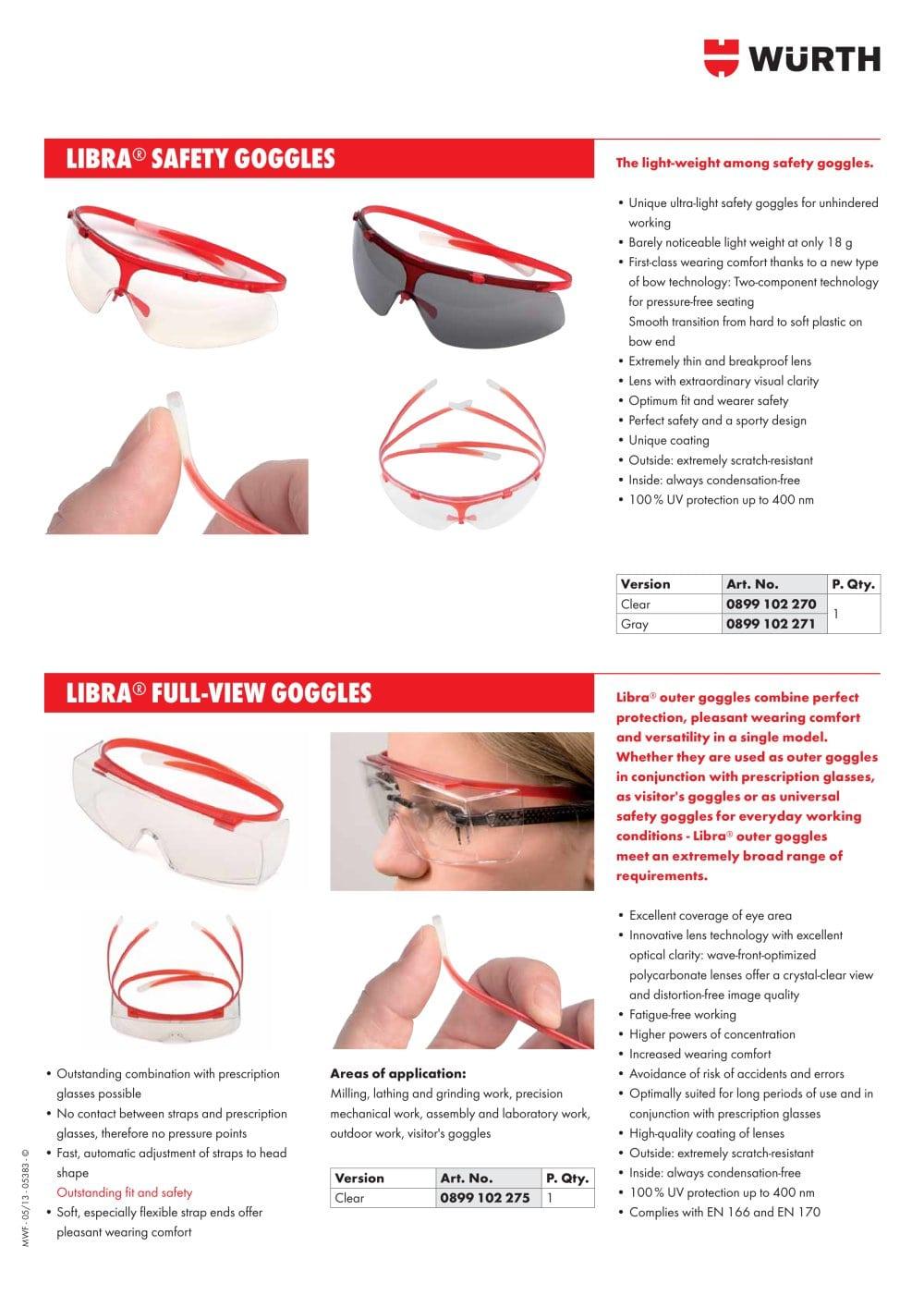 f1521d4988 SAFETY GOGGLES LIBRA - Adolf Würth GmbH   Co. KG - PDF Catalogs ...