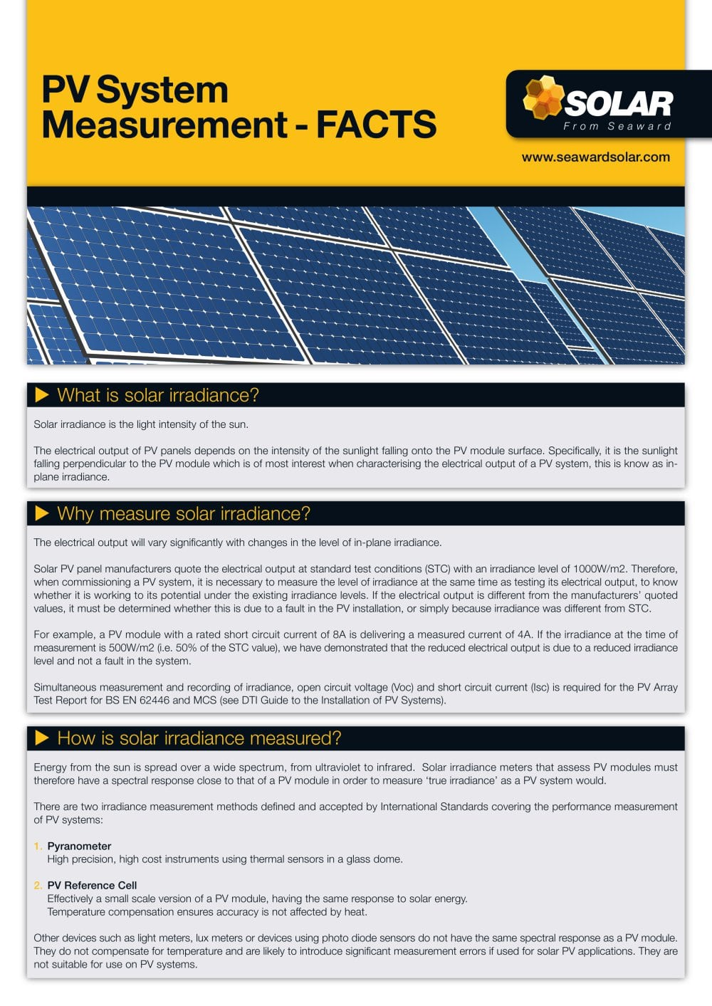 Pvsystem Measurement Facts Solar Seaward Pdf Catalogue How Do You Measure Current In A Circuit 1 4 Pages