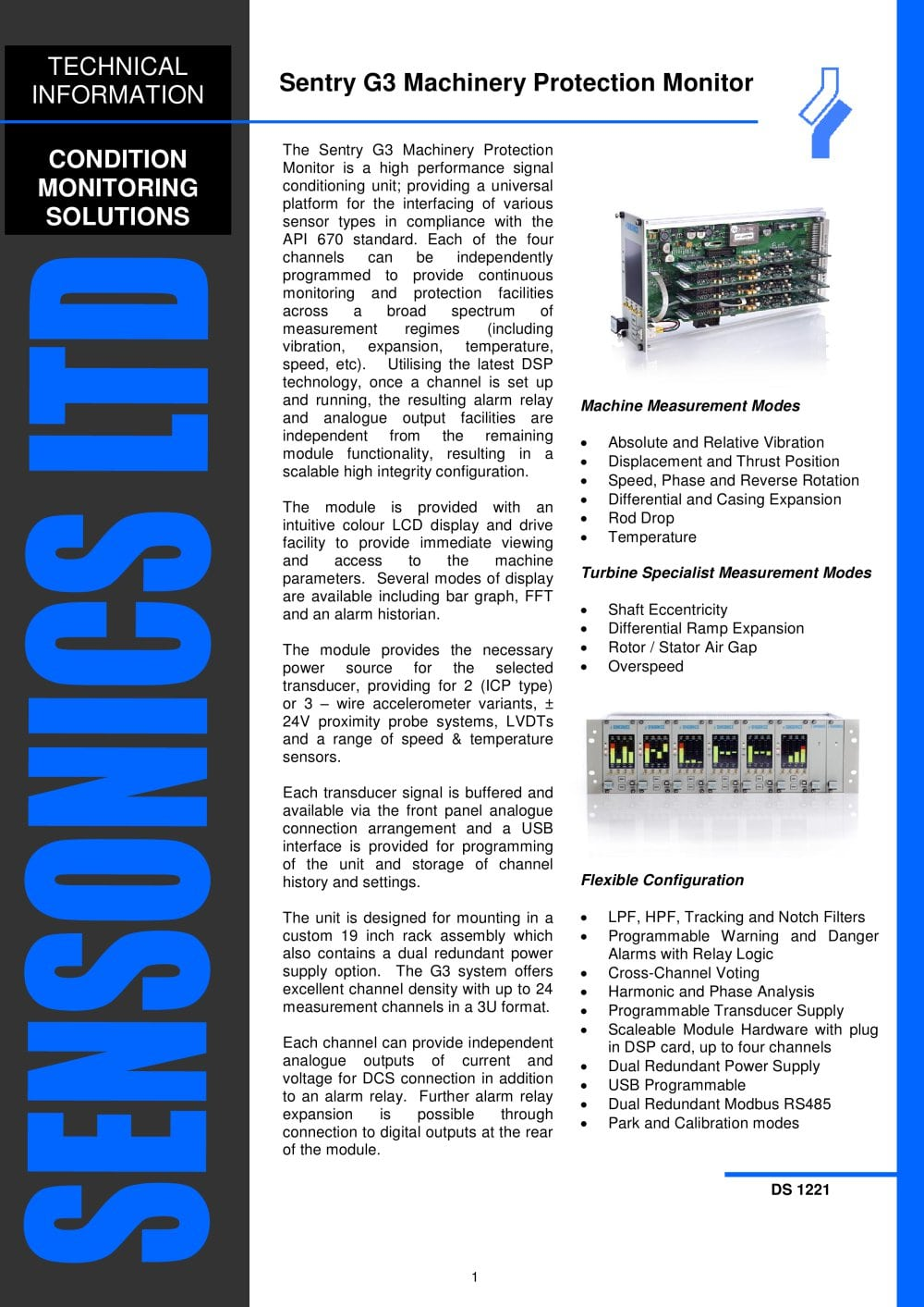Sentry G3 Universal Machinery Protection Monitor Sensonics Pdf Current Alarm Relay 1 7 Pages