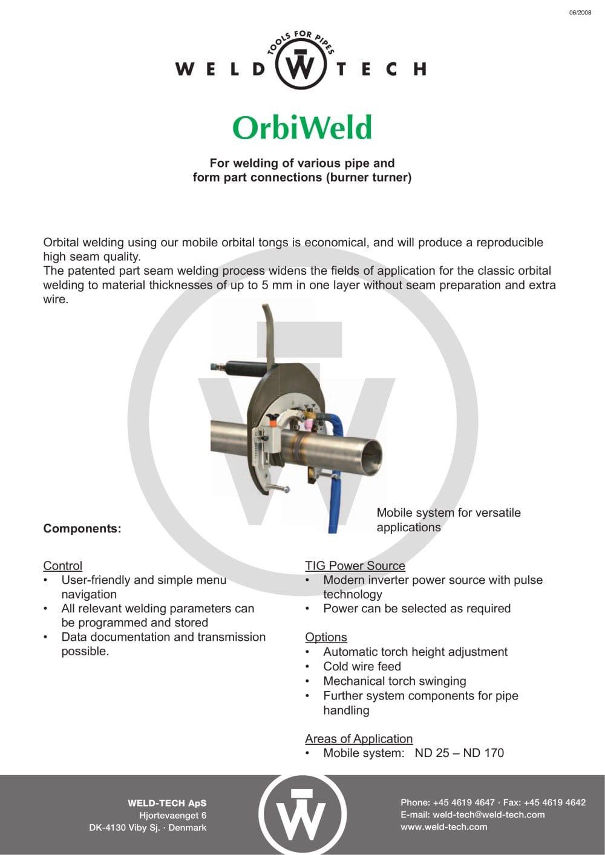 Orbiweld Weld Tech Aps Pdf Catalogue Technical Documentation Diagram Of Welding Process 1 Pages