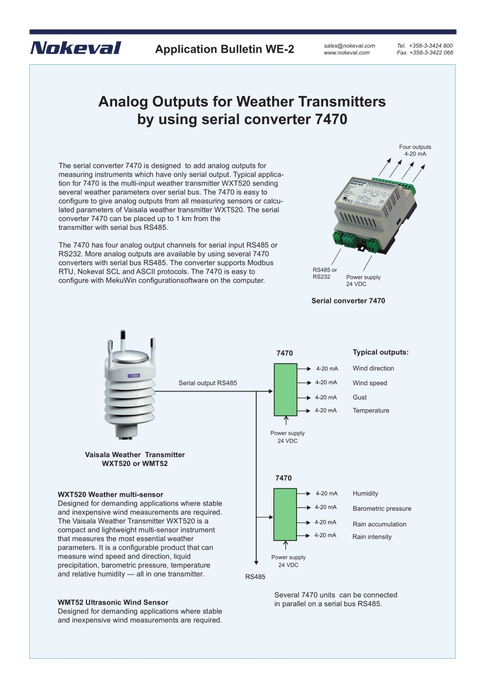 Analog Outputs For Weather Transmitters By Using Serial Converter To Parallel 7470 1 Pages