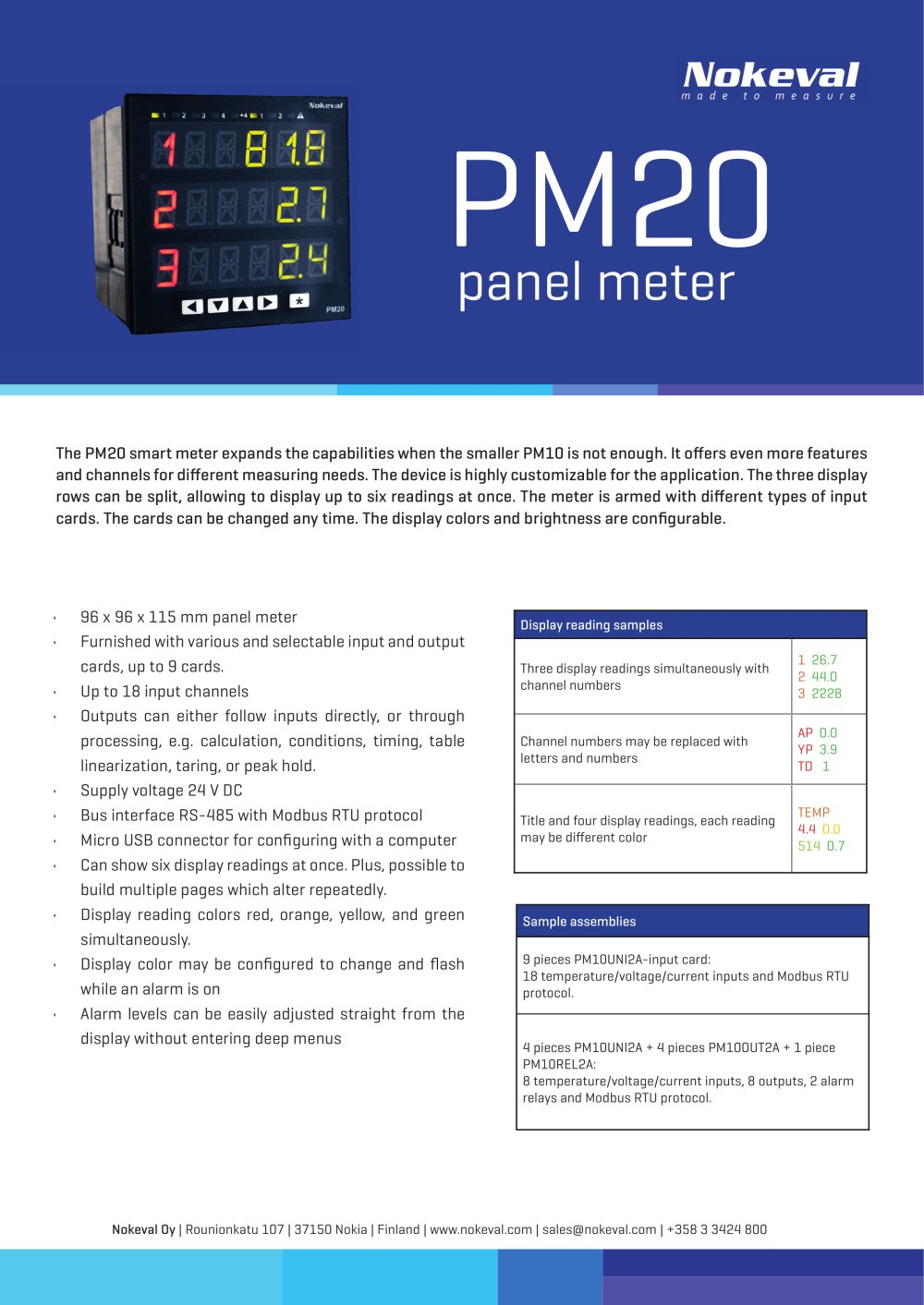 Pm20 Nokeval Pdf Catalogue Technical Documentation Brochure Current Input Relay 1 Pages