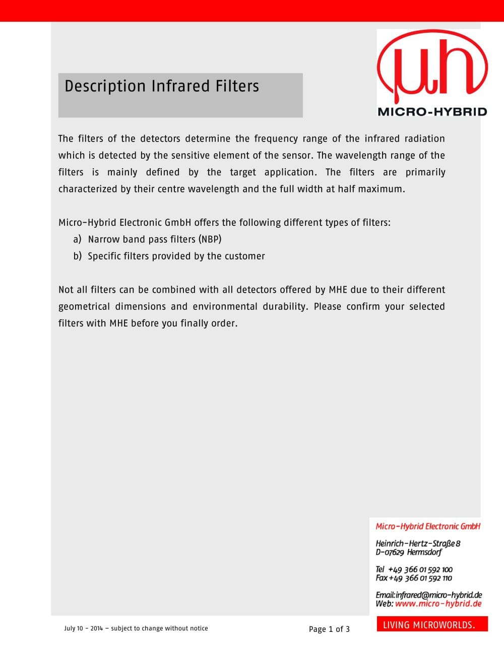 Description Infrared Filters 1 3 Pages