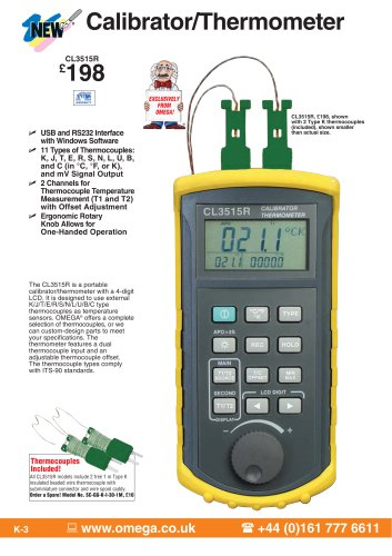 Handheld Thermocouple Simulator Thermometer With USB CL3515R