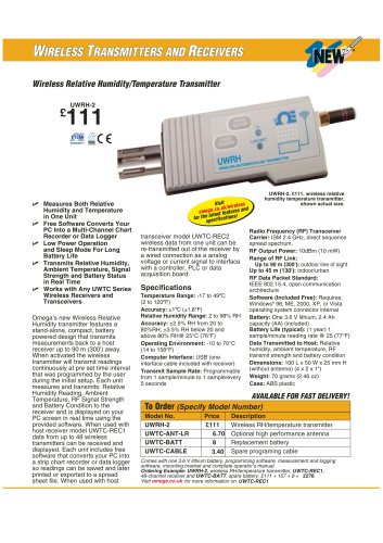Wireless Relative Humidity/Temperature Transmitter  UWRH-2