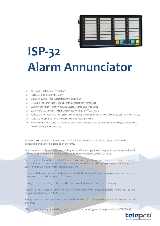 Alarm Annunciator ISP - 32 - Telepro Enerji ve Elektronik Sist San